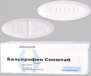 Compoziția, ambalarea și forma produsului Vilprafen solutab